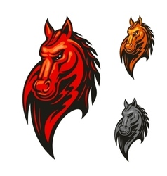 Flaming horse head for sporting mascot design vector image