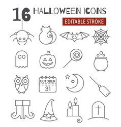Halloween linear icons set with editable stroke vector