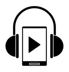 silhouette smartphone player music headphones vector image
