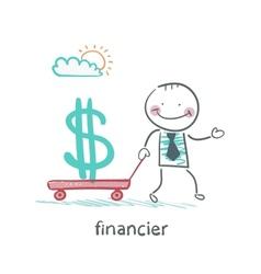 financier carries a wheelbarrow with a dollar sign vector image