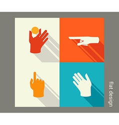 Hands icon set for website or application Flat vector image