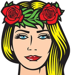 Girl with roses in hair vector