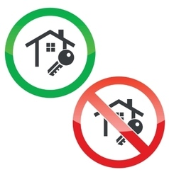 House key permission signs set vector