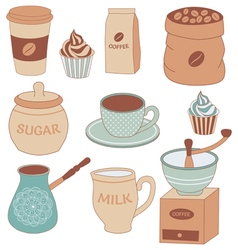 Coffee set vector