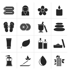 Black Spa objects icons vector image