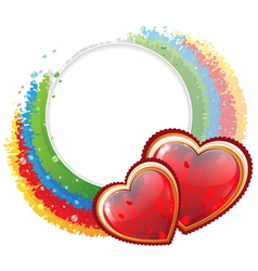 Hearts and rainbow vector