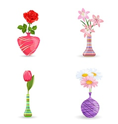 cute collection of modern vases with flowers for vector image