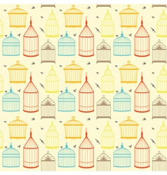 Bird cages pattern vector