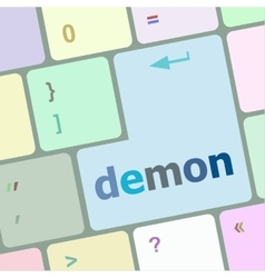 Demon word on keyboard key notebook computer vector