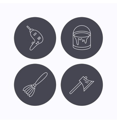 Drill tool bucket of paint and axe icons vector