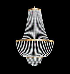 a chandelier with crystal pendants on the black vector image