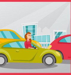 Angry caucasian woman in car stuck in traffic jam vector