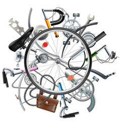 Bicycle spares concept with wheel vector