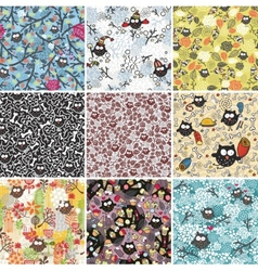 Big set of seamless patterns with cute owls vector image vector image