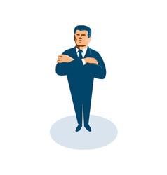 Businessman secret agent arms crossed vector