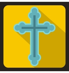Christian cross icon flat style vector image vector image