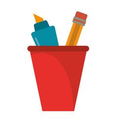 cup pencil school utensil vector image vector image