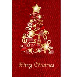 decorated christmas tree with star lights vector image