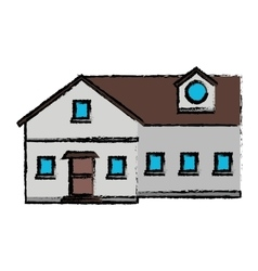 Drawing family house exterior concept vector