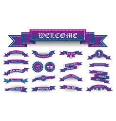 Embroidered blue and violet vintage ribbons and vector