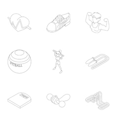 Fitness icons set outline style vector image vector image
