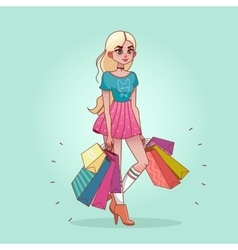 Girl with shopping bags from the store vector