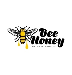 Hand-drawn bee logo for honey products vector image