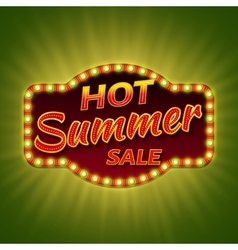 Hot summer sale 3d retro banner with shining bulb vector