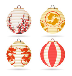 Japanese paper lantern set vector