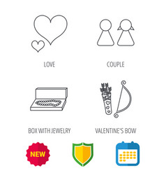 Love heart jewelry and couple icons vector