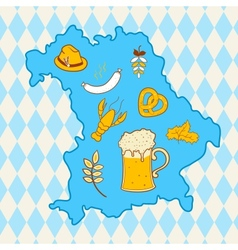 Map of bavaria with oktoberfest symbols vector