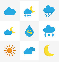 nature flat icons set collection of cloud moon vector image vector image