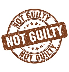 Not guilty brown grunge round vintage rubber stamp vector