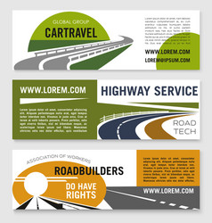 Road travel or construction company banners vector