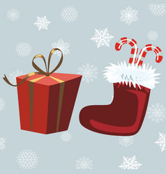 Santa claus boots and red gift gray background vector