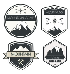 Set of camping and outdoor activity logos vector