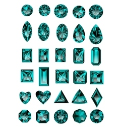 Set of realistic blue amethyst jewels vector image vector image