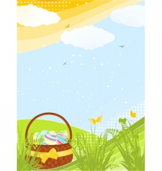 spring basket background vector image vector image