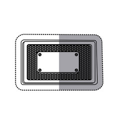 Sticker silhouette rectangle grille perforated vector