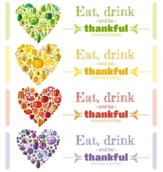 Thanksgiving food banner set with heart icons vector