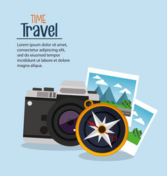 Time travel photo camera compass navigation vector
