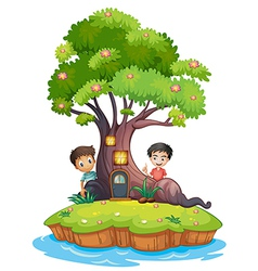 Two boys at the back of the enchanted treehouse vector image vector image