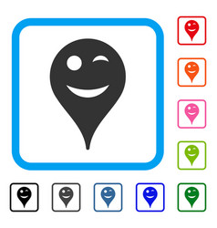 Wink smiley map marker framed icon vector