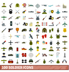 100 soldier icons set flat style vector