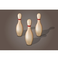 Single bowling pin with red stripe isolated vector