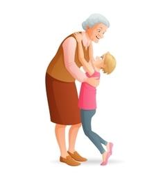 Smiling grandmother hugging her granddaughter vector