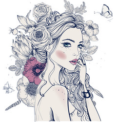 Young beautiful woman wirh flowers vector