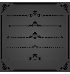 Vintage set of horizontal elements vector