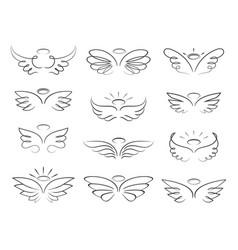 Sketch angel wings in cartoon style vector
