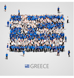 Large group of people in the shape of greece flag vector